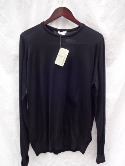 John Smedley Sea Island Cotton Knit LYNDHURST PULLOVER Made in England Black