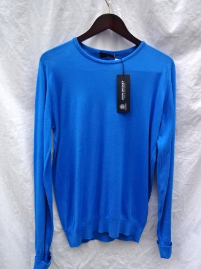 John Smedley Sea Island Cotton Knit LYNDHURST PULLOVER Made in England Alpine Blue