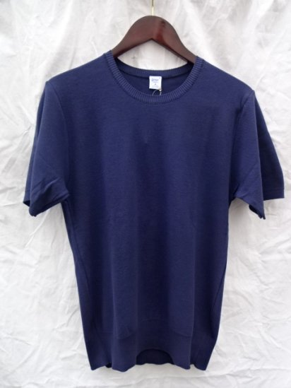 Gicipi Cotton Knit Tee MADE IN ITALY <BR> Navy