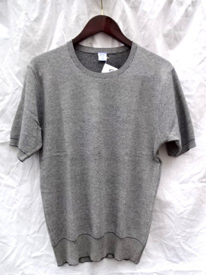 Gicipi Cotton Knit Tee MADE IN ITALY <BR> Black x Natural