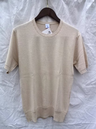 Gicipi Cotton Knit Tee MADE IN ITALY <BR> Beige x Natural