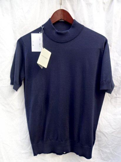 John Smedley Mock Neck T Shirts Made in England Navy