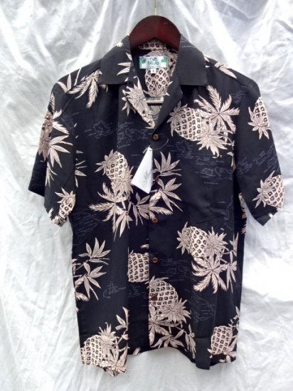 TWO PALMS Aloha Shirts Made in Hawaii  <BR> Pineapple Black × Pink
