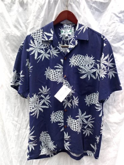 TWO PALMS Aloha Shirts Made in Hawaii  <BR> Pineapple  Navy