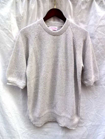 FALL RIVER KNITTING MILLS Seed Stitch Crew Neck Sweater <BR> MADE IN U.S.A Gray