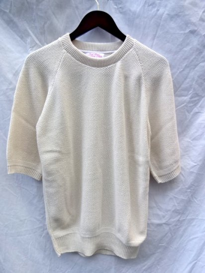 FALL RIVER KNITTING MILLS Seed Stitch Crew Neck Sweater <BR> MADE IN U.S.A Natural