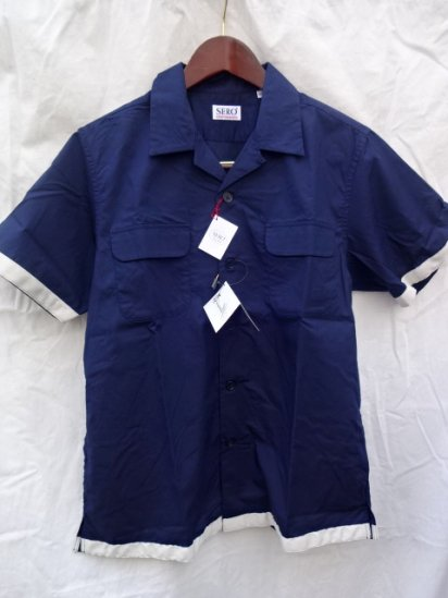 SERO Cotton Broad Open Collar S/S Shirts MADE IN JAPAN Navy<BR>SALE!! 11,000→ 7,700 + Tax