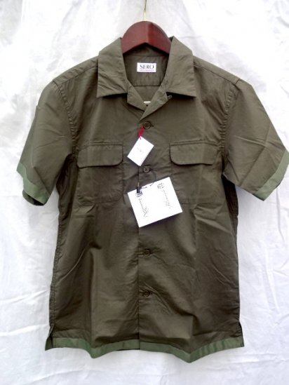 SERO Cotton Broad Open Collar S/S Shirts MADE IN JAPAN Olive<BR>SALE!! 11,000→ 7,700 + Tax