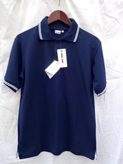 VESTI Front Trim Polo Shirts Made in Italy Navy × White