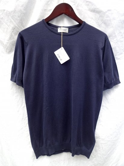 John Smedley Sea Island Cotton Knit BELDEN MENS T-SHIRTS Made in England Navy