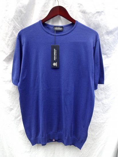 John Smedley Sea Island Cotton Knit BELDEN MENS T-SHIRTS Made in England Normandy Blue