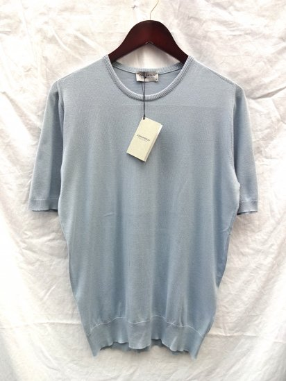 John Smedely SeaIsland Cotton Knit CANVER SADDLE T-S/S Made in England Sax
