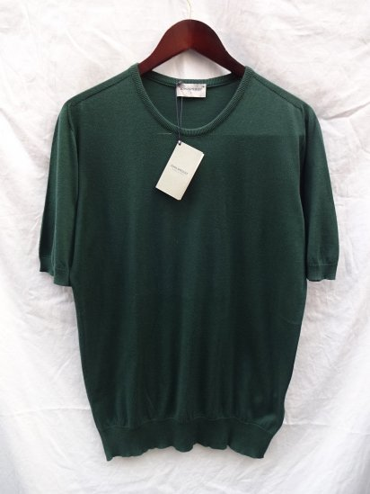 John Smedely SeaIsland Cotton Knit CANVER SADDLE T-S/S Made in England Green