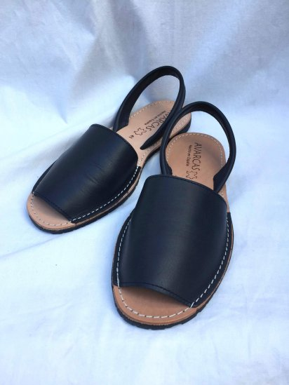 Avarcas Smooth Leather Sandal MADE IN SPAIN Navy<BR>SALE!! 7,400→ 5,180 + Tax