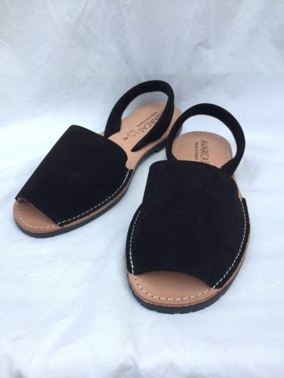 Avarcas Suede Leather Sandal MADE IN SPAIN Black<BR>SALE!! 7,400→ 5,180 + Tax