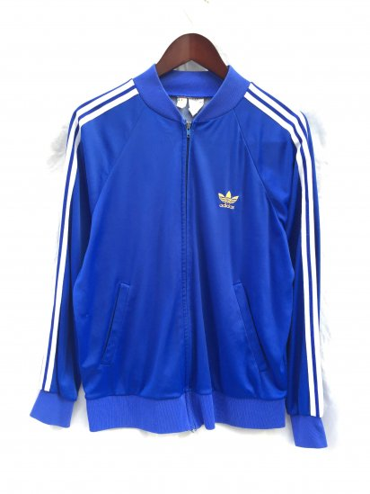 80's Vintage adidas ATP Jog Top VENTEX Made in France <BR> Blue x White x Yellow