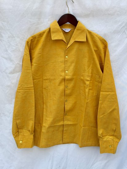 50-60's Vintage Dead Stock Heino Open Collar Shirts Yellow