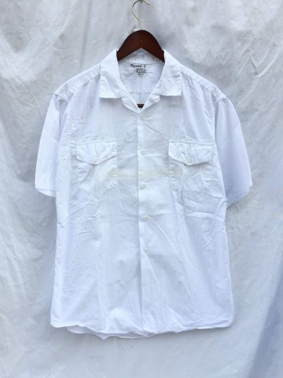60-70's Vintage Military Regulation Open Collar Shirts White
