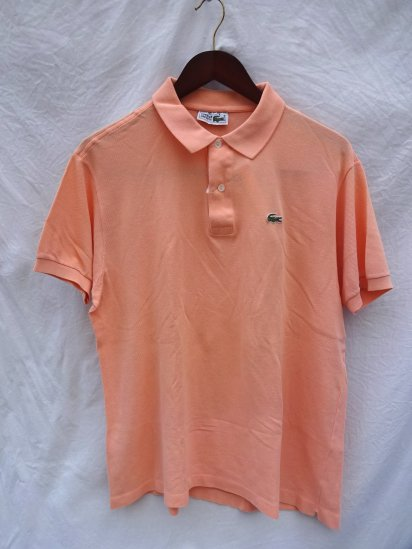 80's〜 Vintage Made in France Lacoste Polo Shirts Salmon Pink / 40