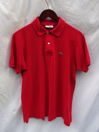 80's 〜 Vintage Made in France Lacoste Polo Shirts Red / 45