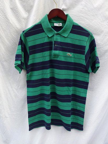 80's 〜 Vintage Made in France Lacoste Polo Shirts <BR> Green / Navy / 46