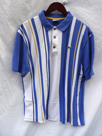 90's Vintage Made in France Lacoste Polo Shirts <BR> White × Blue × Yellow Stripe / 48
