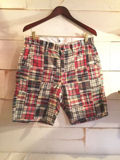 J.Crew Madras Check Patch Work Shorts Made in India<BR>SALE!! 6,800 + Tax → 2,900+Tax