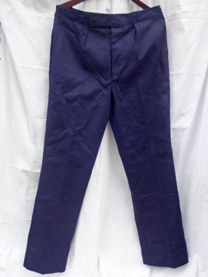 60-70's Dead Stock Vintage Royal Navy Working Dress Trousers Cotton Navy / 2