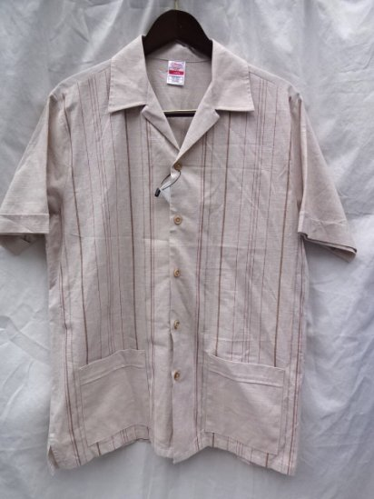 70-80's Vintage St Michael All Cotton Open Collar Shirts <BR> Made in UK Beige / 3