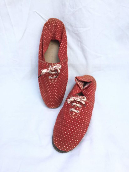 50's Vintage Dead Stock Espadrille Red x White