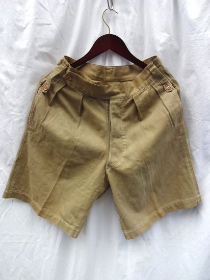 0-50's Vintage British Army Khaki Drill Shorts Khaki / 7