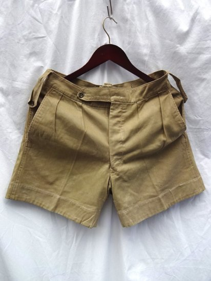 0-50's Vintage British Army Khaki Drill Shorts Khaki / 8