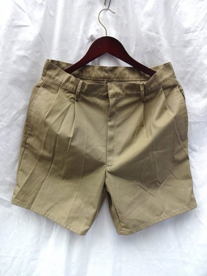 90's Dead Stock French Army Twill Shorts Khaki