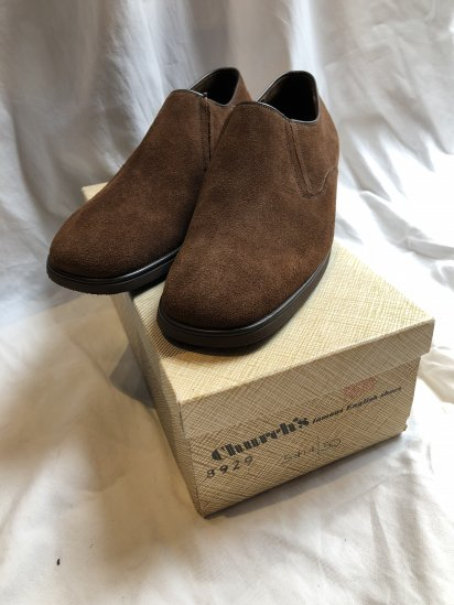 80's〜 Vintage Dead Stock Old Church's Slip-on Made in ENGLAND Brown Suede