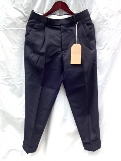 "RICHFIELD T-3  ""CHEVIOT Wool"" Trousers Navy Made in JAPAN"