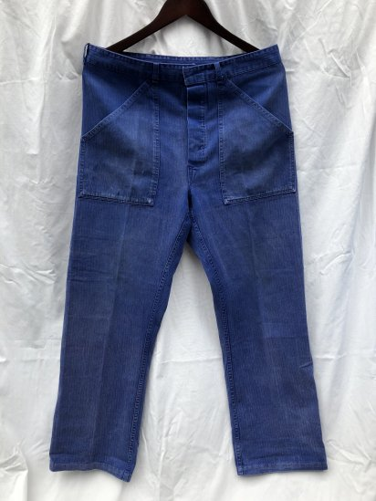 70-80's Vintage German Work Pants Navy HBT