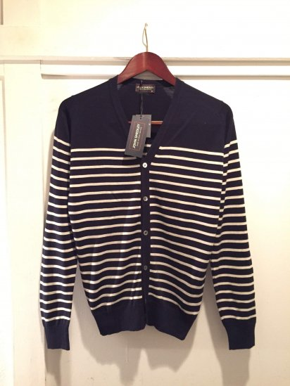 John Smedley Merino Wool Knit A3611 STRIPED CARDIGAN / Mdn x Wht<BR>SALE! 24,800+Tax→12,800+Tax