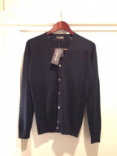 John Smedley Merino Wool Knit A3611 STRIPED CARDIGAN / Mdn x Fst<BR>SALE! 24,800+Tax→12,800+Tax