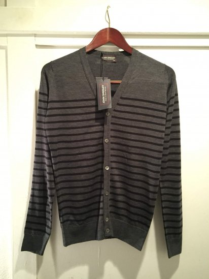 John Smedley Merino Wool Knit A3611 STRIPED CARDIGAN / Chc x Blk<BR>SALE! 24,800+Tax→12,800+Tax