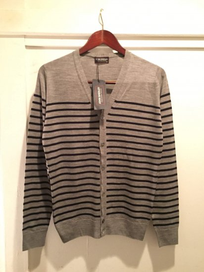 John Smedley Merino Wool Knit A3611 STRIPED CARDIGAN / Slv x Mdn<BR>SALE! 24,800+Tax→12,800+Tax