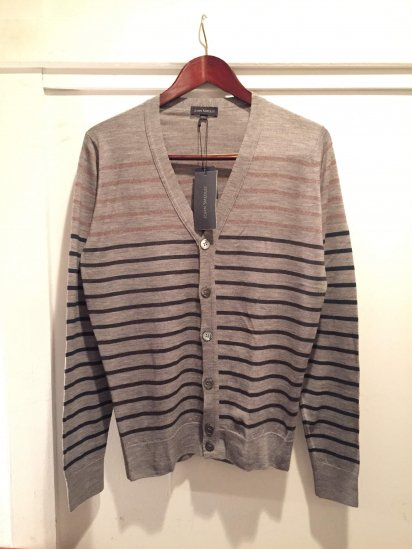John Smedley Merino Wool Knit BOATER STRIPED CARDIGAN / Gray x Multi<BR>SALE! 24,800+Tax→12,800+Tax