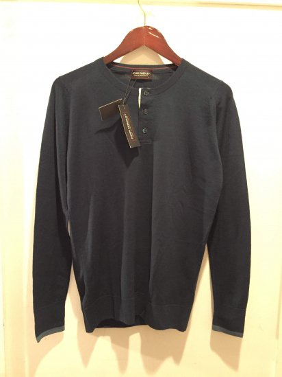 John Smedley Extra Fine Merino Wool Knit MILFORD GRANDAD Made in England<BR>SPECIAL PRICE 9,800+Tax