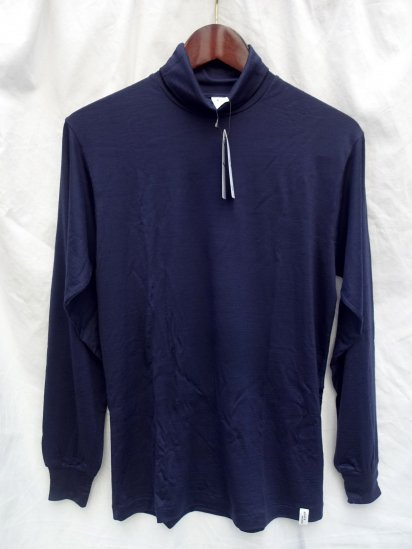 good & woolen 17.5μ Superfine New Zealand Merino Wool Turtle Made in Japan Navy