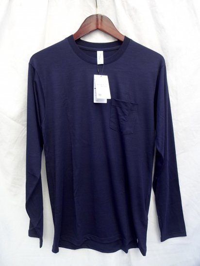 good & woolen 17.5μ Superfine New Zealand Merino Wool Crew Made in Japan Navy
