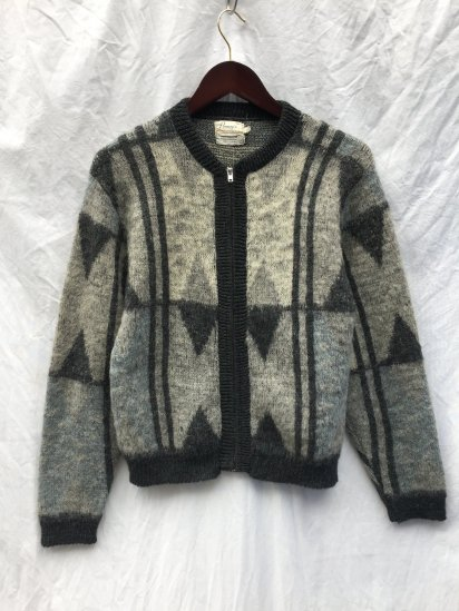 50's Vintage Penney's Wool x Mohair Zip Up Cardigan Gray