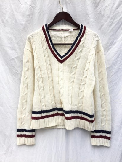 70-80's Vintage Cricket Sweater White x Navy x Burgundy