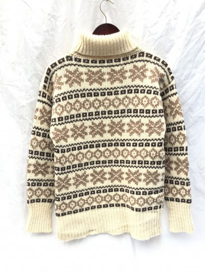 Vintage Jacquard Knit Turtle Neck Sweater Made in Faroe Islands Natural x Brown x Beige