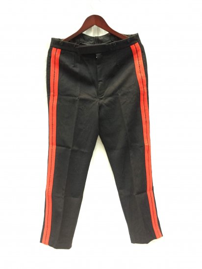 70-80's Vintage British Army Household Cavalry Dress Trousers Black x Red