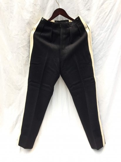 50's British Military Side Lined Trousers Black x White