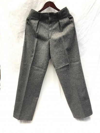 60's Vintage Dead Stock Danish Army Wool Trousers Button Front Gray